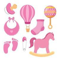 colección de iconos lindos para niña vector