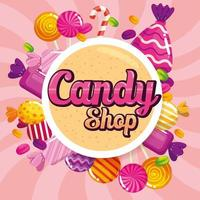 poster of candy shop with caramels vector