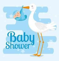 baby shower card with stork and decoration vector