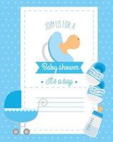 tarjeta de baby shower con chupete y decoración. vector