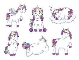 group of cute unicorns fantasy icons vector
