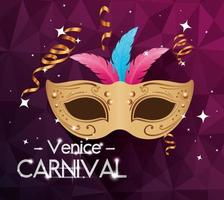 poster of venice carnival and mask with feathers vector