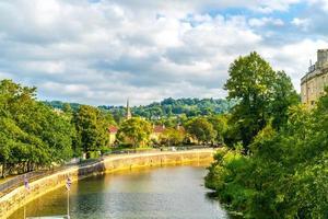 View of the Pulteney Bridge River Avon in Bath, England photo