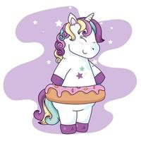 cute unicorn fantasy with donut and stars decoration vector