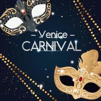 poster of venice carnival with masks and decoration vector
