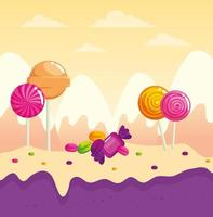 candy land with lollipops and caramels vector
