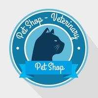 seal of pet shop veterinary with cat silhouette vector