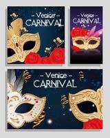 set poster of venice carnival with decoration vector