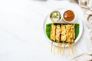 Pork satay - Grilled pork served with peanut sauce or sweet and sour sauce photo