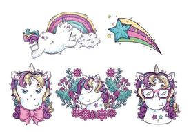 collection of cute heads unicorn with shooting star vector