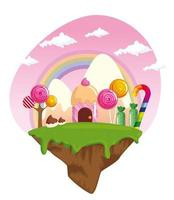 candy land with houses cupcake and caramels vector