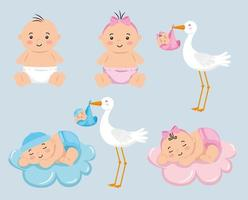 group of little babies with cute stork vector