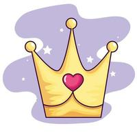 cute crown with heart and stars decoration vector