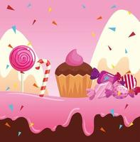 candy land with cupcake and caramels vector