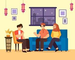 A Family Visiting a Relative's House vector