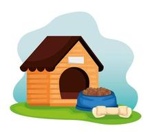 wooden dog house with food dish and bone vector