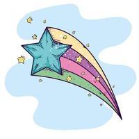 cute shooting star magic icon vector