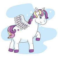 cute unicorn fantasy with wings vector