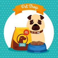 pet shop veterinary with little dog with dish food vector
