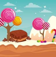 candy land with brownie and caramels vector