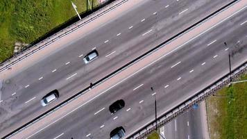 Highway interchange Aerial shooting video