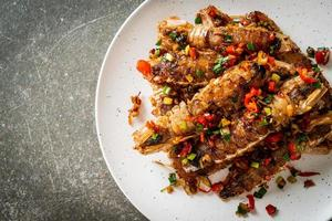 Stir-fried Mantis Shrimp or Crayfish with Chilli and Salt. photo