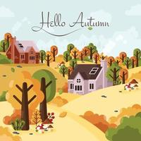 Autumn in Country Yard vector