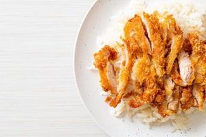 Hainanese chicken rice with fried chicken photo