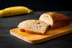 Homemade banana bread sliced photo