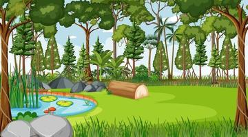 Forest nature scene with pond and many trees at day time vector