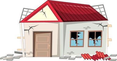 Casa rota dañada por el terremoto aislado sobre fondo blanco. vector