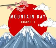 Mountain Day banner with Mount Fuji and Red Sun vector
