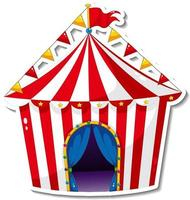 Sticker template with circus tent in cartoon style vector