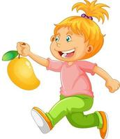 A boy holding mango fruit cartoon character isolated on white background vector