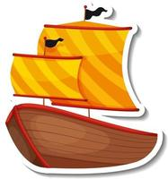 Sticker template with Pirate ship isolated vector