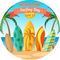 International Surfing Day banner with many surfboards on the beach isolated vector