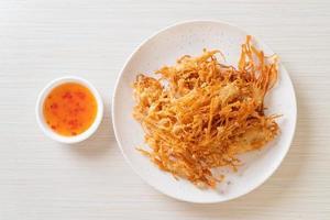 Fried Enoki Mushroom or Golden Needle Mushroom photo