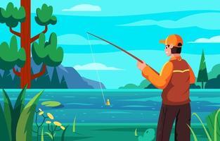 Men Enjoy Fishing at Lake vector