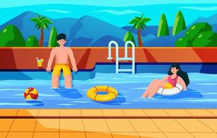 Happy Couple at the Swimming Pool vector
