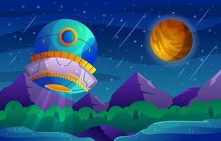 UFO Seen at Starry Night vector