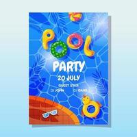cartel para fiesta en la piscina vector
