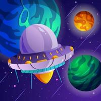 UFO Flying in Universe Galaxy vector
