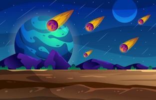Meteor Rain in a Planet vector