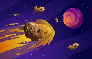 Meteor Flying in the Galaxy vector