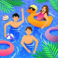 Young People Swimming in Summer vector
