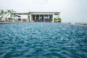 Pool in Yogyakarta during rain photo