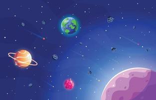 paisaje espacial con estrellas planetarias y asteroides. vector