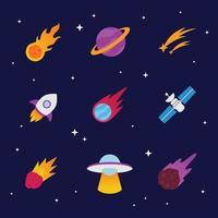 Meteor Space Icon Set vector