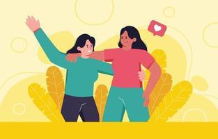 Happy Girls Best Friend Concept vector