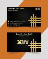professional black and golden business card template  design vector